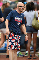 John Katz, president of the Columbia Fireflies, wears red, white and blue in a game against the Rome Braves on Monday, July 3, 2017, at Spirit Communications Park in Columbia, South Carolina. Columbia won, 1-0. (Tom Priddy/Four Seam Images)
