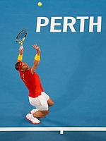 4th January 2020; RAC Arena, Perth, Western Australia; ATP Cup Australia, Perth, Day 2; Spain versus Georgia Rafael Nadal of Spain serves during his match against Nikoloz Basilashvili of Georgia - Editorial Use