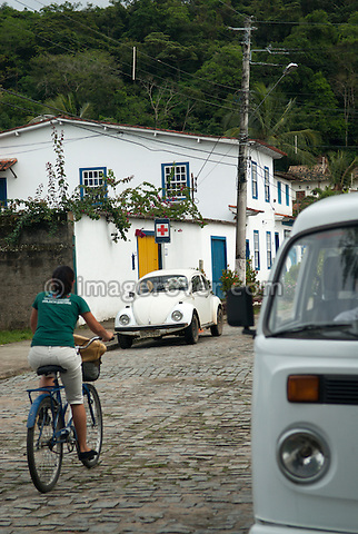 Brasilian built Volkswagen Fusca (VW Beetle) and  Volkswagen Bus T1.5 parked in the old colonial town Paraty, Espirito Santo, Brazil. --- No releases available. Automotive trademarks are the property of the trademark holder, authorization may be needed for some uses.