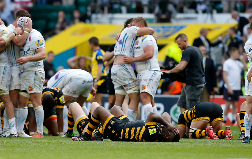 Photo: Richard Lane/Richard Lane Photography. Wasps v Exeter Chiefs. Aviva Premiership Final. 27/05/2017. Wasps dejection.