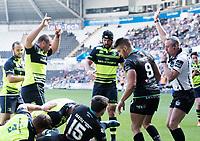 Leinster's Jack McGrath celebrates his sides second try<br /> <br /> Photographer Simon King/CameraSport<br /> <br /> Guinness PRO12 Round 19 - Ospreys v Leinster Rugby - Saturday 8th April 2017 - Liberty Stadium - Swansea<br /> <br /> World Copyright &copy; 2017 CameraSport. All rights reserved. 43 Linden Ave. Countesthorpe. Leicester. England. LE8 5PG - Tel: +44 (0) 116 277 4147 - admin@camerasport.com - www.camerasport.com