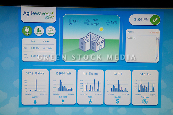Close-up of the computer display screen of Agilewaves whole-house energy and resource monitor system in the 1700 sq ft two-story residential green building constructed from reused shipping containers on the West Coast Green tradeshow floor. West Coast Green is the nation?s largest conference and expo dedicated to green innovation, building, design and technology. The conference featured over 380 exhibitors, 100 presenters, and 14,000 attendees. Location: San Jose Convention Center in Silicon Valley (San Jose, California, USA), September 25-27, 2008