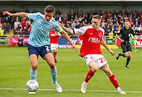 Accrington Stanley's Callum Johnson holds off the challenge from Fleetwood Town's Ashley Hunter<br /> <br /> Photographer Alex Dodd/CameraSport<br /> <br /> The EFL Sky Bet League One - Fleetwood Town v Accrington Stanley - Saturday 15th September 2018  - Highbury Stadium - Fleetwood<br /> <br /> World Copyright &copy; 2018 CameraSport. All rights reserved. 43 Linden Ave. Countesthorpe. Leicester. England. LE8 5PG - Tel: +44 (0) 116 277 4147 - admin@camerasport.com - www.camerasport.com