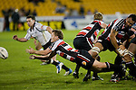 Kane Hancy dive passes from a scrum during the Air New Zealand Cup rugby game between Counties Manukau Steelers & Hawkes Bay, played at Mt Smart Stadium on the 23rd of August 2007. Hawkes Bay won 38 - 14.