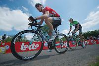 Tony Martin (DEU/OPQS) with Sep Vanmarcke (BEL/Belkin) in his wheel up le &quot;Petit Poggio&quot;<br /> <br /> 2014 Belgium Tour<br /> stage 4: Lacs de l'Eau d'Heure - Lacs de l'Eau d'Heure (178km)