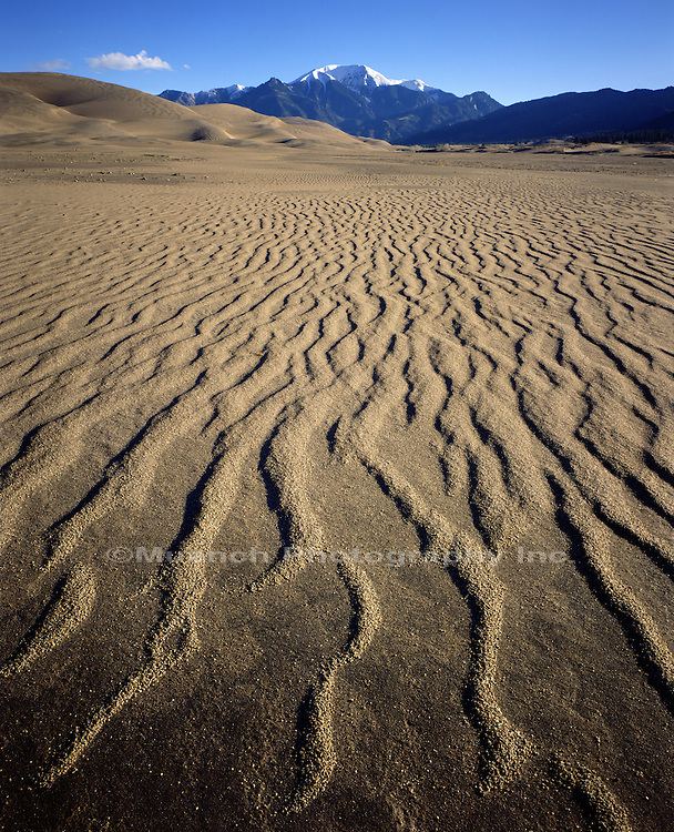 Cleveland Peak above dunes Great Sand Dunes National Park