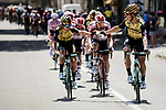 Drinks for Team Jumbo-Visma on the front of the peloton as the temperatures hit 40 degrees during Stage 16 of the 2019 Tour de France running 177km from Nimes to Nimes, France. 23rd July 2019.<br /> Picture: ASO/Pauline Ballet | Cyclefile<br /> All photos usage must carry mandatory copyright credit (© Cyclefile | ASO/Pauline Ballet)