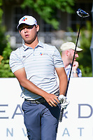 Si Woo Kim (KOR) watches his tee shot on 15 during the round 1 of the Dean &amp; Deluca Invitational, at The Colonial, Ft. Worth, Texas, USA. 5/25/2017.<br /> Picture: Golffile | Ken Murray<br /> <br /> <br /> All photo usage must carry mandatory copyright credit (&copy; Golffile | Ken Murray)