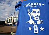 12th September 2017, Stamford Bridge, London, England; UEFA Champions League Group stage, Chelsea versus Qarabag FK; Alvaro Morata of Chelsea t shirt on display outside Stamford Bridge before kick off