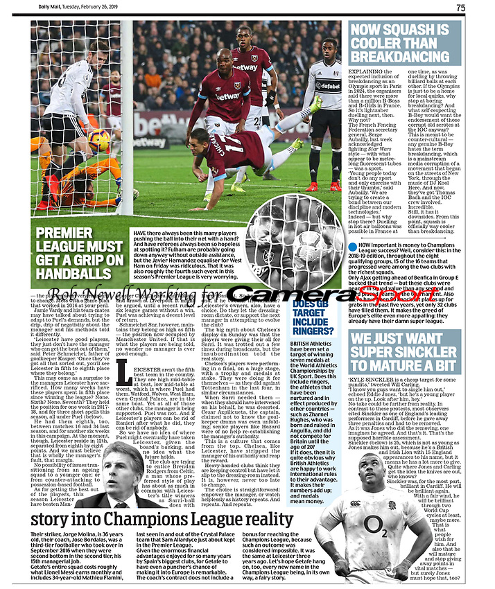 Daily Mail - 26-Feb-2019 - 'PREMIER LEAGUE MUST GET A GRIP ON HANDBALLS' - Photo by Rob Newell (Camerasport via Getty Images)