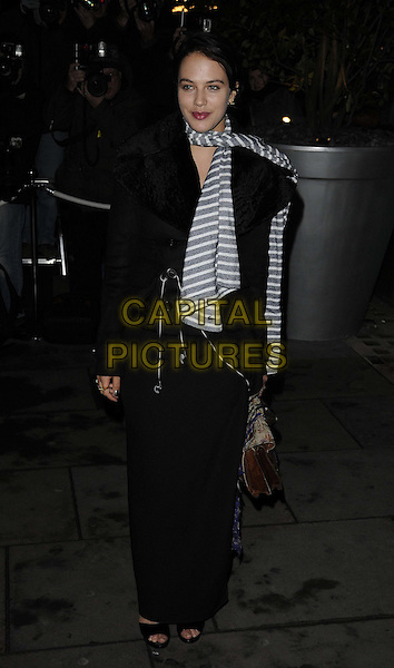 Jessica Brown-Findlay .The English National Ballet's Christmas performance of 'The Nutcracker' at the St Martins Lane Hotel, London, England..14th December 2011 .full length black coat jacket white striped stripes scarf .CAP/CAN.©Can Nguyen/Capital Pictures.