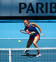 8th November 2019; RAC Arena, Perth, Western Australia, Australia; Fed Cup by BNP Paribas Final Tennis, Australia versus France, Practice Day; Caroline Garcia of France plays a forehand volley at the net during practise - Editorial Use