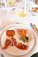 In the restaurant. Dry cured ham. Sausages. Charcuteries.  Herdade da Malhadinha Nova, Alentejo, Portugal