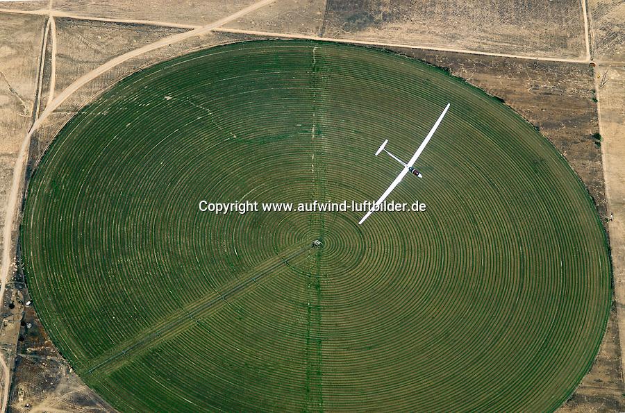 4415 / Einkreisen: AMERIKA, VEREINIGTE STAATEN VON AMERIKA, UTAH,  (AMERICA, UNITED STATES OF AMERICA), 24.07.2006:ein doppelsitziges Segelflugzeug vom Typ ASH 25 kreist ueber einem runden Feld, Bewaesserung, Futtermittel, Gras, Heu, Viehfutter, in der Wueste von Utah wird Viehfutter erzeugt