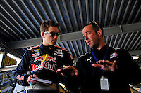 Feb 07, 2009; Daytona Beach, FL, USA; NASCAR Sprint Cup Series driver Scott Speed (left) with crew chief Jimmy Elledge during practice for the Daytona 500 at Daytona International Speedway. Mandatory Credit: Mark J. Rebilas-