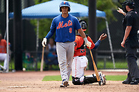 GCL Mets Juan Loyo (9) at bat during a Gulf Coast League game against the GCL Astros on August 10, 2019 at FITTEAM Ballpark of the Palm Beaches Training Complex in Palm Beach, Florida.  GCL Astros defeated the GCL Mets 8-6.  (Mike Janes/Four Seam Images)