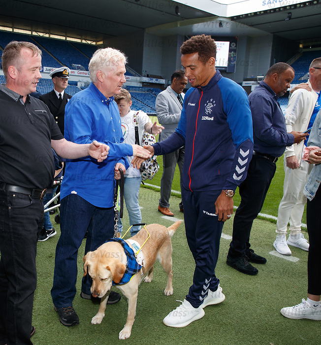 22.07.2019 Rangers launch diversity and inclusion campaign 'Everyone, Anyone'  at Ibrox today. James Tavernier meets Scott Cunningham MBE and his dog Milo