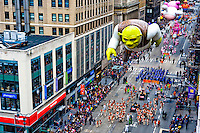 The Shrek float approaches 35th Street on Sixth Avenue during the 2010 Macy's Thanksgiving Day Parade in New York City.