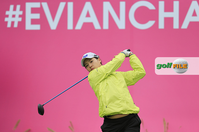 In Gee Chun (KOR) tees off the 1st tee to start her match during Saturday's Round 3 of The 2016 Evian Championship held at Evian Resort Golf Club, Evian-les-Bains, France. 17th September 2016.<br /> Picture: Eoin Clarke | Golffile<br /> <br /> <br /> All photos usage must carry mandatory copyright credit (&copy; Golffile | Eoin Clarke)