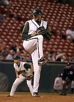 September 15, 2004:  Pitcher Brian Tallet of the Buffalo Bisons, International League (AAA) affiliate of the Cleveland Indians, during a game at Dunn Tire Park in Buffalo, NY.  Photo by:  Mike Janes/Four Seam Images