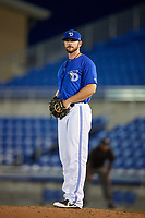 Dunedin Blue Jays relief pitcher Jackson McClelland gets ready to deliver a pitch during a game against the Jupiter Hammerheads on August 14, 2018 at Dunedin Stadium in Dunedin, Florida.  Jupiter defeated Dunedin 5-4 in 10 innings.  (Mike Janes/Four Seam Images)
