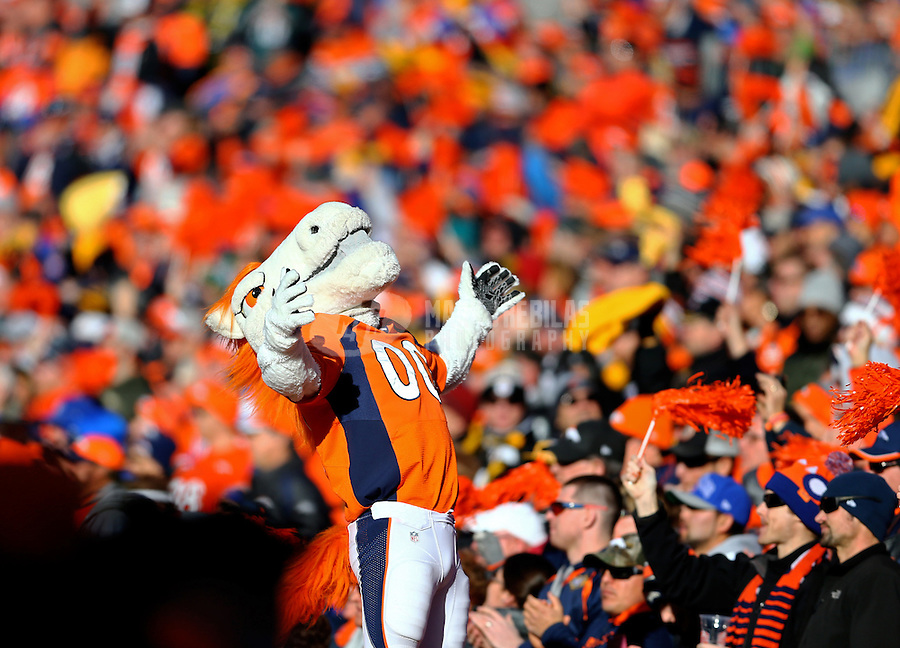 Jan 17, 2016; Denver, CO, USA; Denver Broncos mascot Miles reacts against the Pittsburgh Steelers during the AFC Divisional round playoff game at Sports Authority Field at Mile High. Mandatory Credit: Mark J. Rebilas-USA TODAY Sports