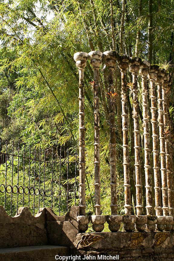 Bamboo screen at Las Pozas, the surrealistic sculpture garden created by Edward James near Xilitla, Mexico