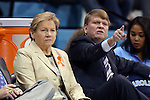 01 February 2015: UNC head coach Sylvia Hatchell (left) with assistant coach Andrew Calder (right). The University of North Carolina Tar Heels hosted the Boston College Eagles at Carmichael Arena in Chapel Hill, North Carolina in a 2014-15 NCAA Division I Women's Basketball game. UNC won the game 72-60.