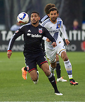 United's Sean Franklin keeps his eye on the ball. DC United defeated the LA Galaxy 1-0 with a stoppage time goal from Chris Pontius at RFK Stadium in Washington DC.