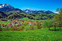Deutschland, Bayern, Oberbayern, Chiemgau: Bergen mit Hochgern und Hochfelln | Germany, Bavaria, Upper Bavaria, Chiemgau: Bergen with Hochgern and Hochfelln mountains
