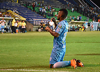 MONTERIA - COLOMBIA, 06-08-2018: Jhony Cano jugador de Jaguares de Córdoba celebra después de anotar un gol al Leones F.C. durante partido por la fecha 3 de la Liga Águila II 2018 jugado en el estadio Municipal de Montería. / Jhony Cano player of Jaguares of Cordoba celebrates after scoring a goal to Leones F.C. during a match for the date 3 of the Liga Aguila II 2018 at the Municipal de Monteria Stadium in Monteria city. Photo: VizzorImage / Andres Felipe Lopez / Cont