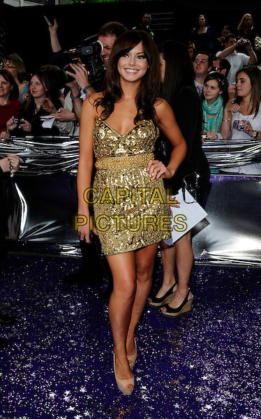 HANNAH TOINTON .The British Soap Awards 2008 BBC Television Centre, Wood Lane, London, England..May 3rd, 2008.full length gold beaded dress beige platform peep toe shoes hand on hip Christian Louboutin sequins sequined .CAP/CAN.© Can Nguyen/Capital Pictures