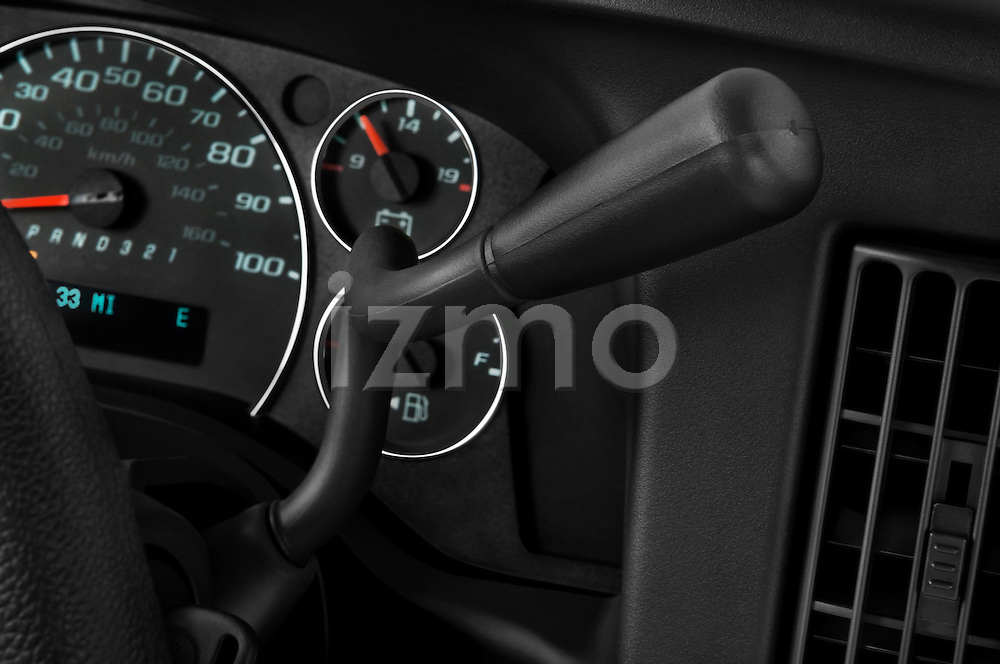 Gear shift detail view of a 2008 chevrolet express 3500 passenger van