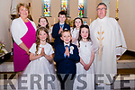 Pupils from Boheeshil National School received their First Holy Communion in Glencar on Saturday.<br /> Front L-R: Mary May Morris, Maurice Joy, Ellen O'Mahoney, <br /> Back: Teacher Eileen Magann, Siobhan Murphy, Michael O'Connor, Millie Foley, Fr. Kieran O'Sullivan.
