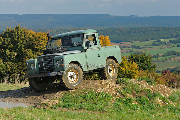 Light green 1970s Land Rover Series 3 SWB Truck Cab on a forest track in the Weserbergland. Seen at an off-road event of the German Land Rover Club held at the Freizeitpark Mammut in Stadtoldendorf, Germany, October 3.-5. 2008. --- No releases available. Automotive trademarks are the property of the trademark holder, authorization may be needed for some uses.