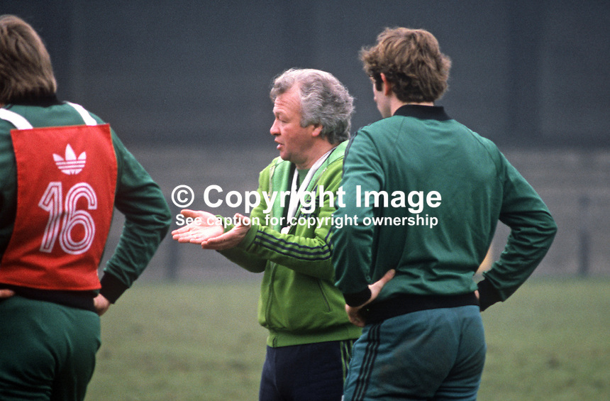 N Ireland soccer manager, Billy Bingham, during a training session at St Albans before the match against England at Wembley. 19820223014BB3<br />