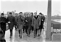 Visite guidee du maire Gilles Lamontagne sur le chantier de la riviere St-Charles en compagnie du ministre Jean Marchand   <br /> , le 28 novembre 1970<br /> <br /> Photographe : Photo Moderne<br /> <br /> - Agence Quebec Presse