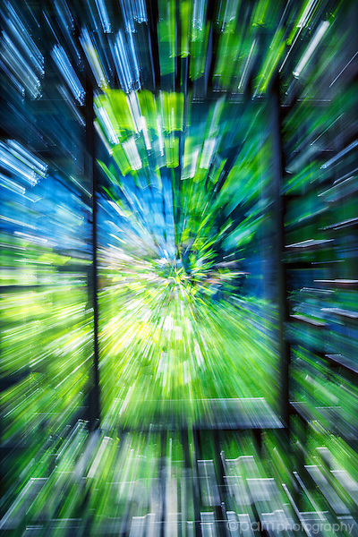 Blue and green abstract of window frame