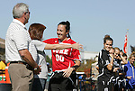 26 October 2008: Duke's Cassidy Powers hugs her mother during Senior Day festivities. The Duke University Blue Devils defeated the Clemson University Tigers 6-0 at Koskinen Stadium in Durham, North Carolina in an NCAA Division I Women's college soccer game.