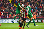 Billy Sharp of Sheffield Utd is challenged by Ben Davies and Greg Cunningham of Preston North End  and during the Championship league match at Bramall Lane Stadium, Sheffield. Picture date 28th April, 2018. Picture credit should read: Harry Marshall/Sportimage