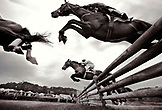 USA, Tennessee, Nashville, Iroquois Steeplechase, jockeys and their horses getting air over a jump during the Timber Race (B&W)