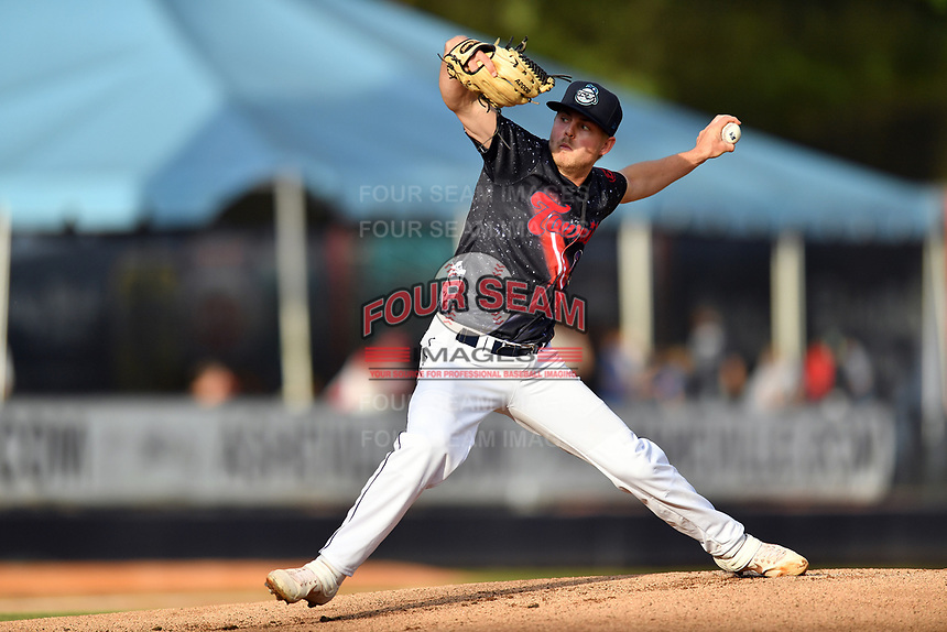 Asheville Tourists starting pitcher Colten Schmidt (1) delivers a pitch during a game against the Delmarva Shorebirds at McCormick Field on May 4, 2019 in Asheville, North Carolina. The Shorebirds defeated the Tourists 4-0. (Tony Farlow/Four Seam Images)