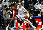 January 21, 2012:   Nevada Wolf Pack forward Olek Czyz drives against Fresno State Bulldogs guard Jonathan Wills during their NCAA basketball game played at Lawlor Events Center on Saturday night in Reno, Nevada.