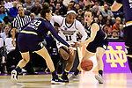 COLUMBUS, OH - APRIL 1: Roshunda Johnson #11 of the Mississippi State Bulldogs tries to dribble between Kathryn Westbeld #33 and Marina Mabrey #3 of the Notre Dame Fighting Irish during the championship game of the 2018 NCAA Division I Women's Basketball Final Four at Nationwide Arena in Columbus, Ohio. (Photo by Justin Tafoya/NCAA Photos via Getty Images)