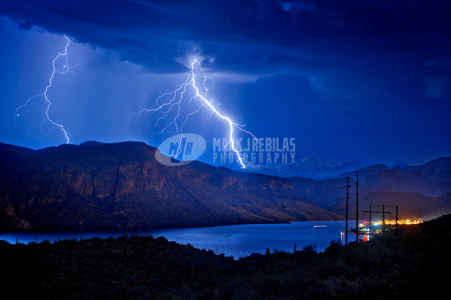 desert weather Arizona lake river water Canyon Lake Tonto National Forest Mountain cactus rain monsoon thunderstorm cloud clouds lightning bolt strike night