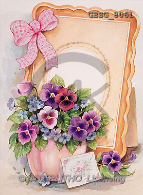 Ron, FLOWERS, paintings, frame, bow(GBSG8061,#F#) Blumen, flores, illustrations, pinturas ,everyday