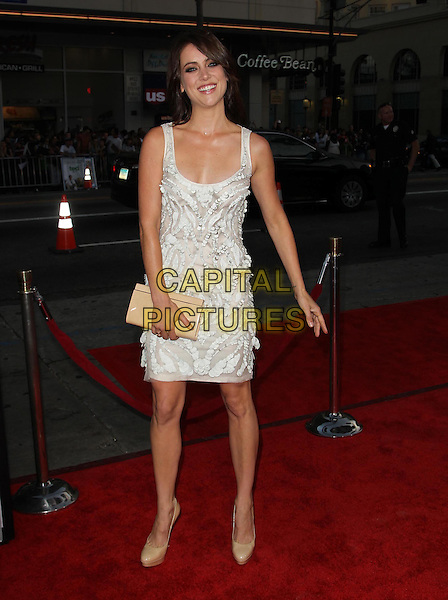 Jessica Stroup.The L.A. Premiere of 'Ted' held at The Grauman's Chinese Theatre in Hollywood, California, USA..June 21st, 2012.full length dress beige clutch bag white  .CAP/ADM/KB.©Kevan Brooks/AdMedia/Capital Pictures.