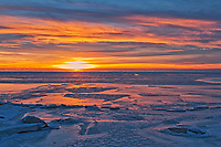 Ice at sunset on frozen Lake Winnipeg <br />