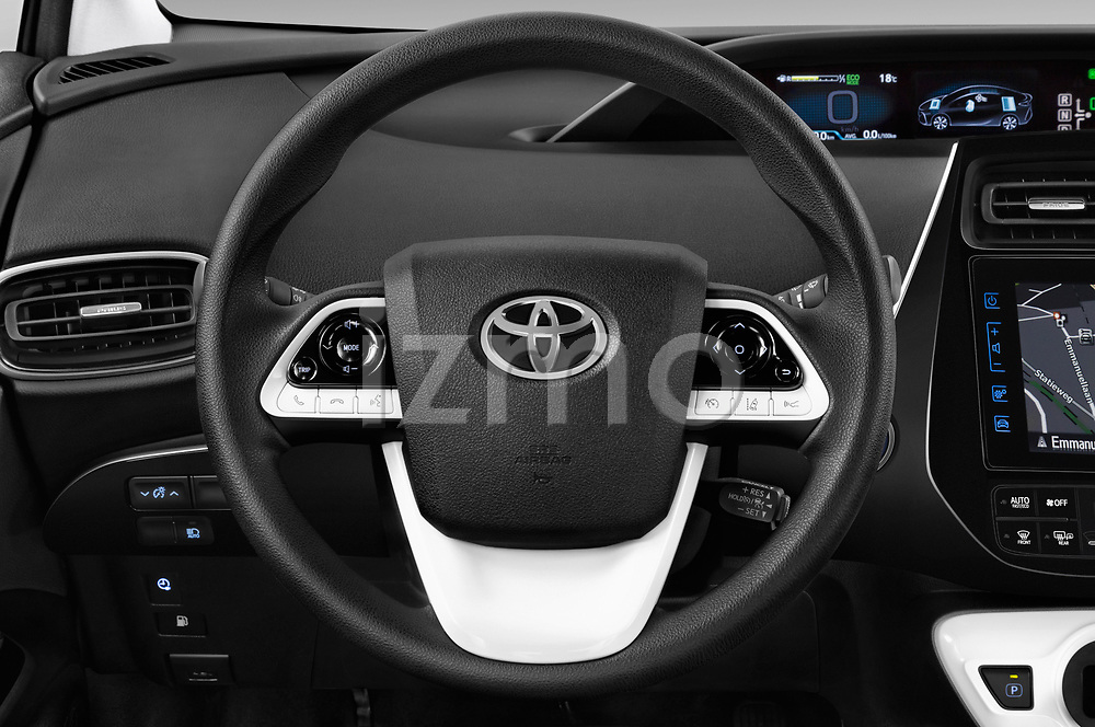 Car pictures of steering wheel view of a 2017 Toyota Prius Plug-in Hybride Solar 5 Door Hatchback
