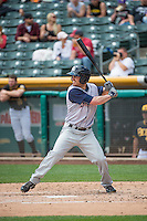 Logan Schafer (6) of the Colorado Springs Sky Sox at bat against the Salt Lake Bees in Pacific Coast League action at Smith's Ballpark on May 24, 2015 in Salt Lake City, Utah.  (Stephen Smith/Four Seam Images)